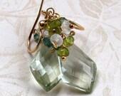 Green amethyst earrings, handmade AAA green gemstone, gold earrings-OOAK