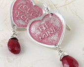 Candy heart earrings, handmade fine silver and ruby earrings, eco friendly Valentines day-OOAK