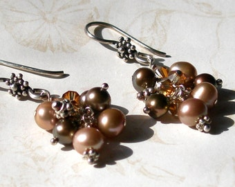 Chocolate pearl earrings, handmade sterling silver, Swarovski crystal earrings-Cafe au Lait