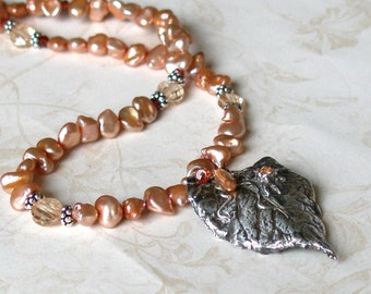 Silver rose leaf necklace, peach pearls and CZ's, handmade silver jewelry OOAK
