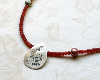 Ruby Necklace, handmade July birthstone necklace-Plum Blossom