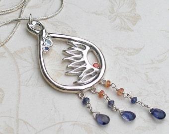 Rain drop necklace, handmade sapphire, fine silver necklace-The Sun shines through the Rain