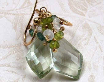 Green amethyst earrings, handmade AAA green gemstone, gold earrings-OOAK