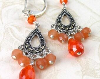 Silver marcasite earrings, handmade orange cubic zirconium, peach moonstone earrings