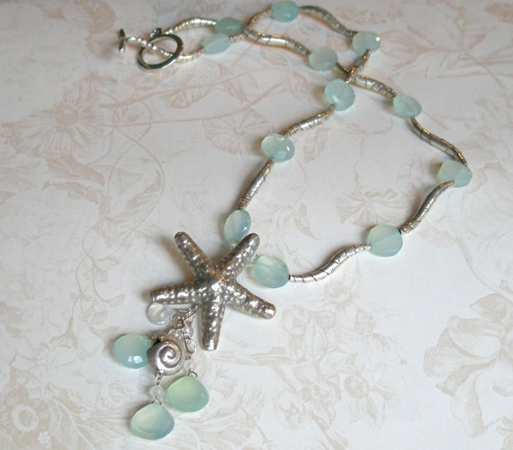 Silver starfish necklace, handmade fine silver and chalcedony necklace-Mermaid's Dream