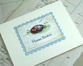 Pastel Easter Eggs in A Nest Happy Easter Greeting Card, Watercolor Print
