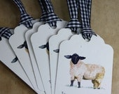 Sheep Gift Tags, Set of 6, on Cream Recycled Cardstock with Matching Black and White Gingham Ribbon