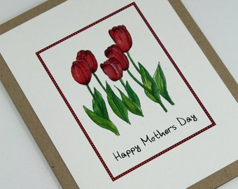 Mother's Day Bright Red Tulips for Mom Handmade Greeting Card