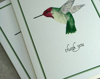 Hummingbird Thank You Notecards, Boxed Set of 8, Handmade Greeting Cards