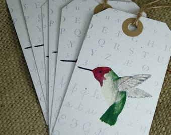 6 Hummingbird Gift Tags, Recycled Paper, Set of 6, Large Tags