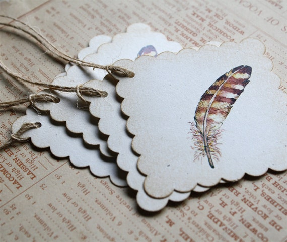 6 Watercolor Print Bird Feather Tags, Set of 6, Recycled Paper, Scallop Edge, Jute Twine