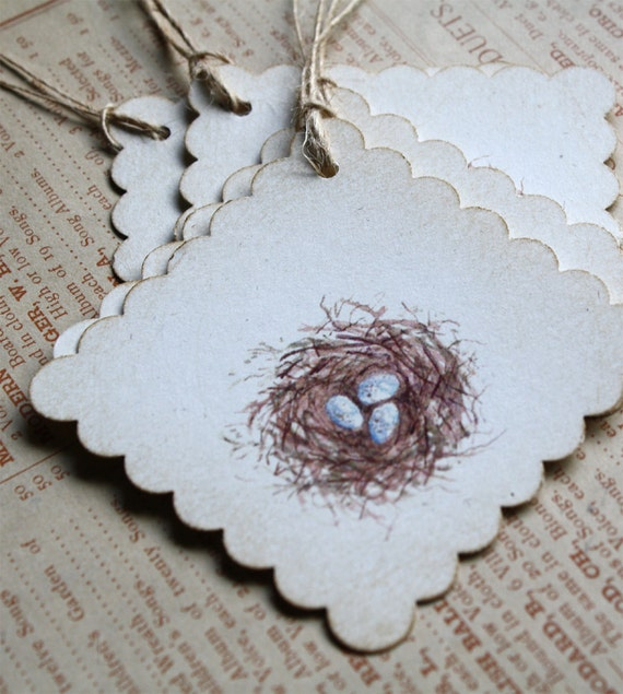 6 Watercolor Print Bird Nest Tags, Set of 6, Recycled Papers, Scallop Edge, Jute Twine