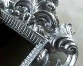 Small Ornate Wall Mirror - Handpainted Shiny Silver