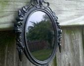 Black Scrying Mirror in Vintage Brass Frame