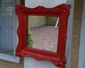 Tiny Baroque Wall Mirror in Lipstick Red