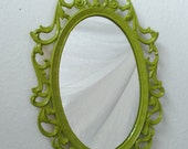Fairy Princess Mirror - Vintage Oval Frame in Spring Green - 8 by 5.5 inches