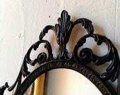 Dark Fairy Tale Mirror - Ornate Vintage Frame in Jet Black - 10 by 7 inches - SecretWindowMirrors