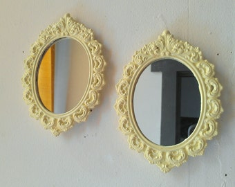 Oval Mirror Set - Vintage Brass Frames in Pale Yellow