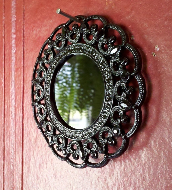 Small Scrying Mirror in Jet Black Jewelled Frame