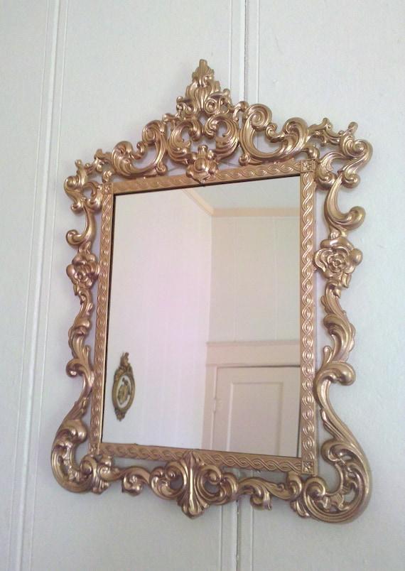large victorian wall mirror vintage metal frame 19 x 13. Black Bedroom Furniture Sets. Home Design Ideas