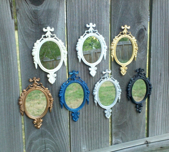 Oval Wall Mirror - Vintage Metal Frame with Rose Detail in Color and Qty of Your Choice