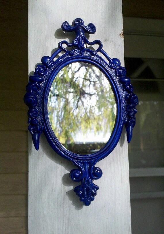 Small Mirror in Vintage Cobalt Blue Frame - Revived Vintage