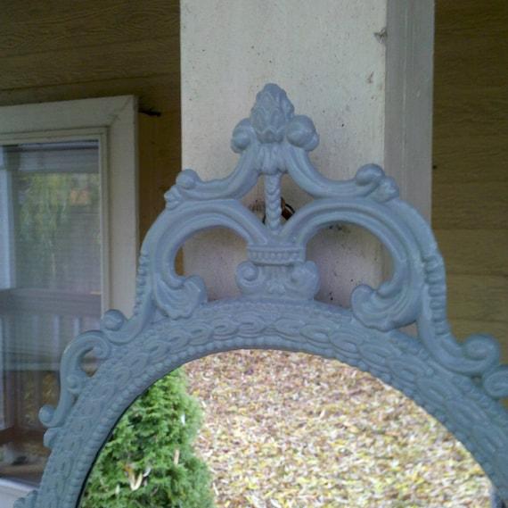 Ornate Oval Mirror in Vintage Metal Frame - 17 x 12 inch Handpainted Brass in Winter Blue