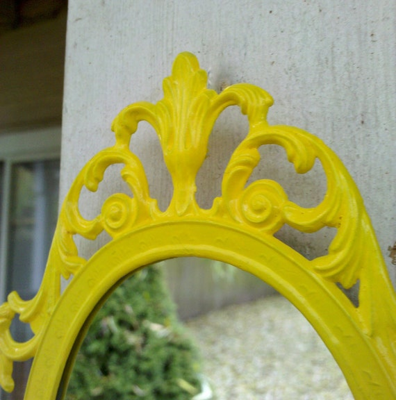 Fairy Princess Mirror - Ornate Vintage Frame in Sunny Yellow - 7 by 5 inches