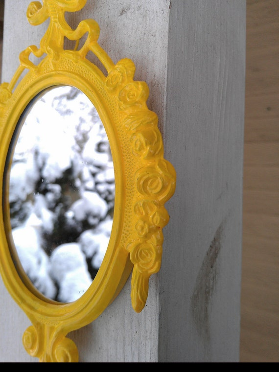 Decorative Wall Mirror in Vintage Lemon Yellow Frame - Revived Vintage