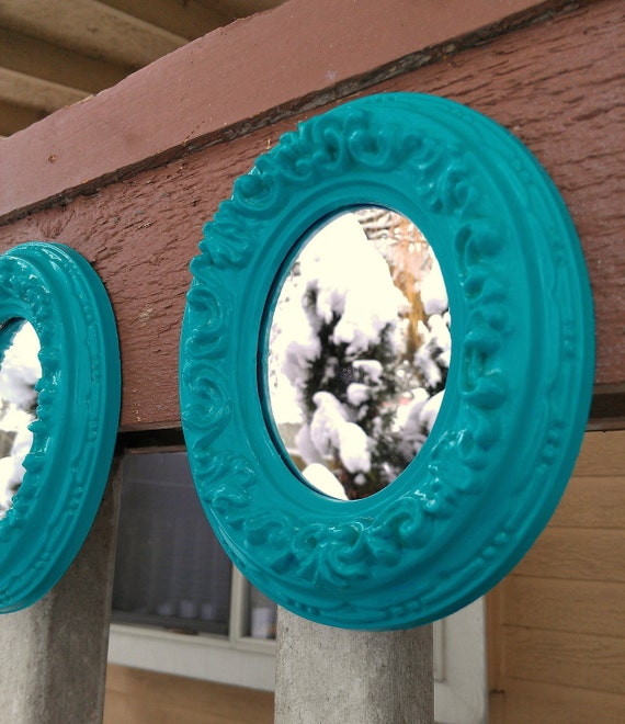 Framed Mirror Decor Set of Two in Small Vintage Turquoise Ovals