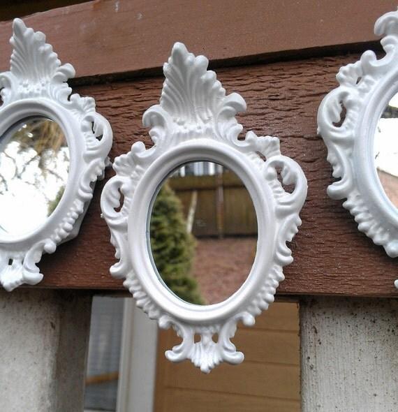 White Oval Mirror Set of Three in Miniature Vintage Frames