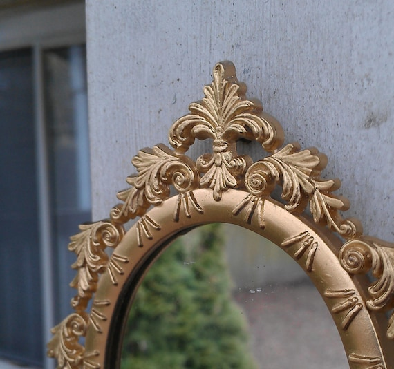 Small Gold Mirror in Vintage Oval Feather Frame