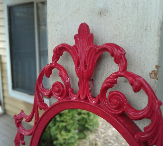 Fairy Princess Mirror - Ornate Vintage Frame in Bright Raspberry - 10 by 7 inches