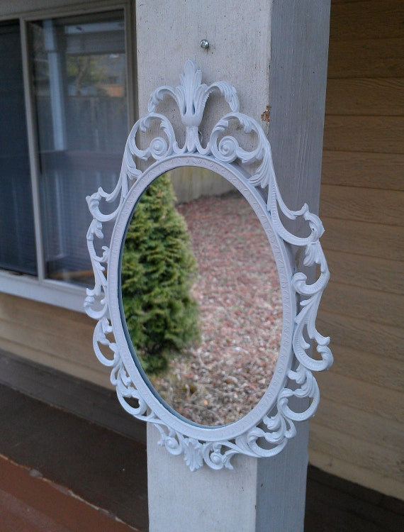 Fairy Princess Mirror - Ornate Vintage Frame in Glossy Bright White - 10 by 7 inches