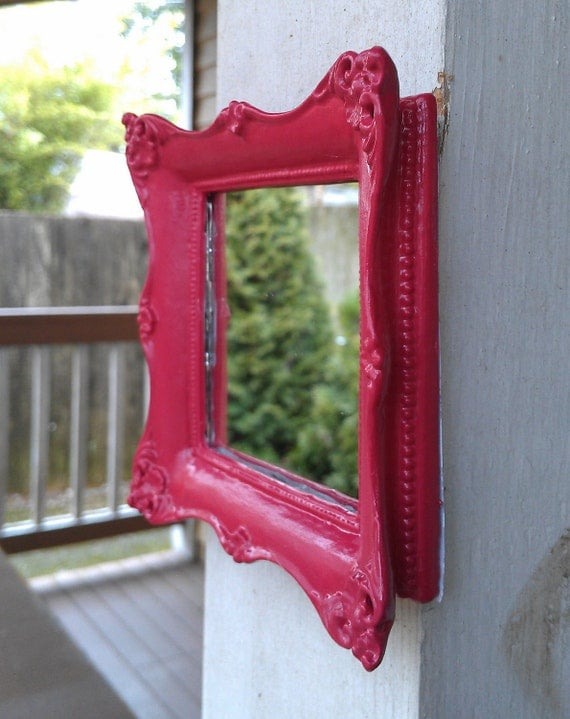 Tiny Baroque Wall Mirror in Bright Pink Raspberry