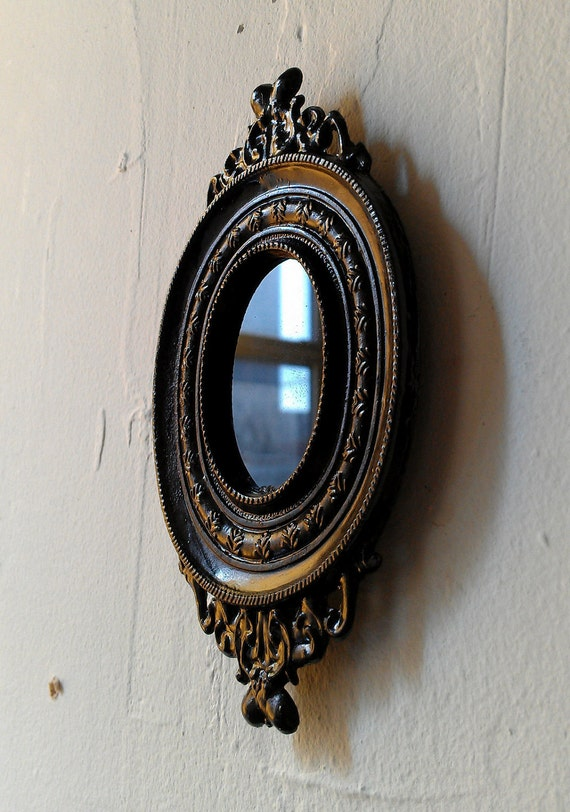 Black Scrying Mirror in Miniature Vintage Brass Frame