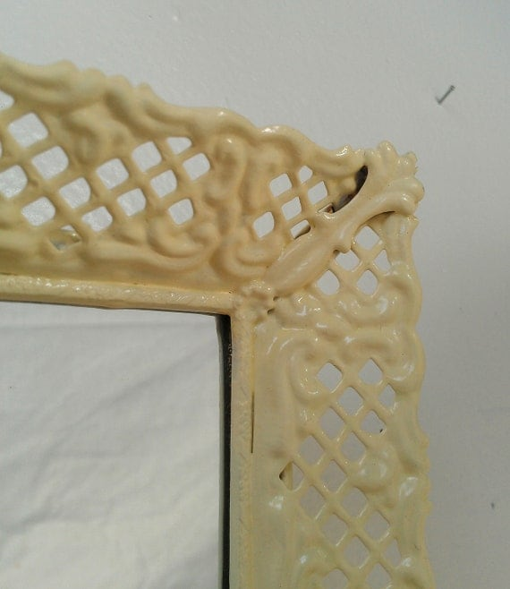 Decorative Wall Mirror in Butter Yellow Vintage Filigree Frame