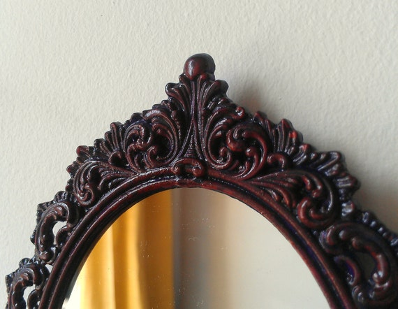 Oval Filigree Mirror in Red and Purple Color Wash