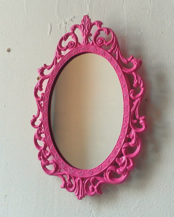 Fairy Princess Mirror - Ornate Vintage Frame in Party Pink - 7 by 5 inches
