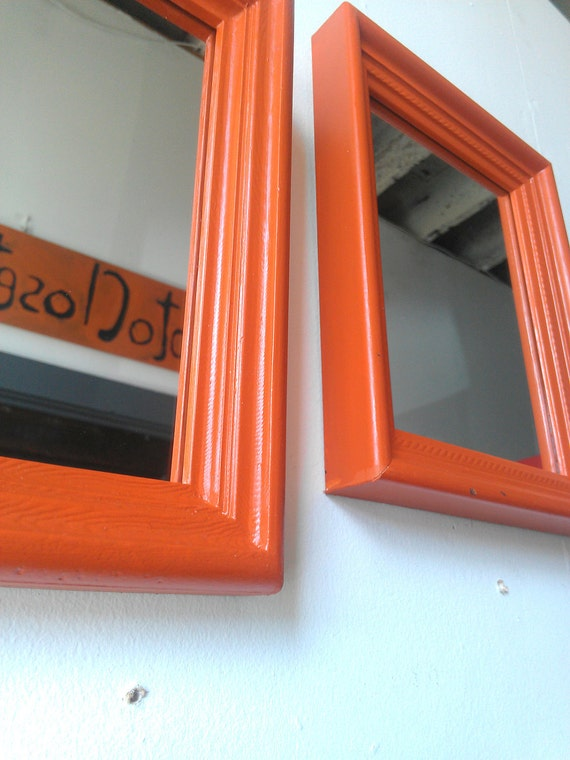 Wall Mirror Set in Burnt Orange Vintage Wood Frames