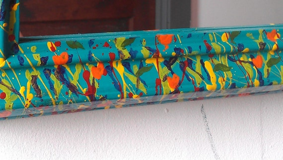 Turquoise Wall Mirror with Hand Painted Spring Flower Garden