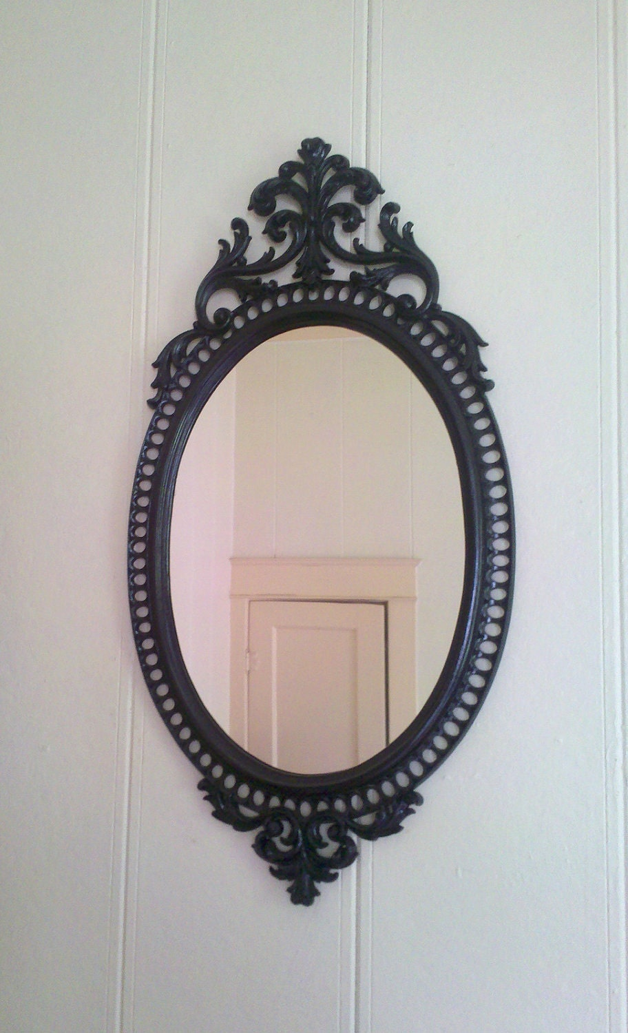 Large ornate oval wall mirror in glossy black frame 31 x 16 for Mirror 18 patch