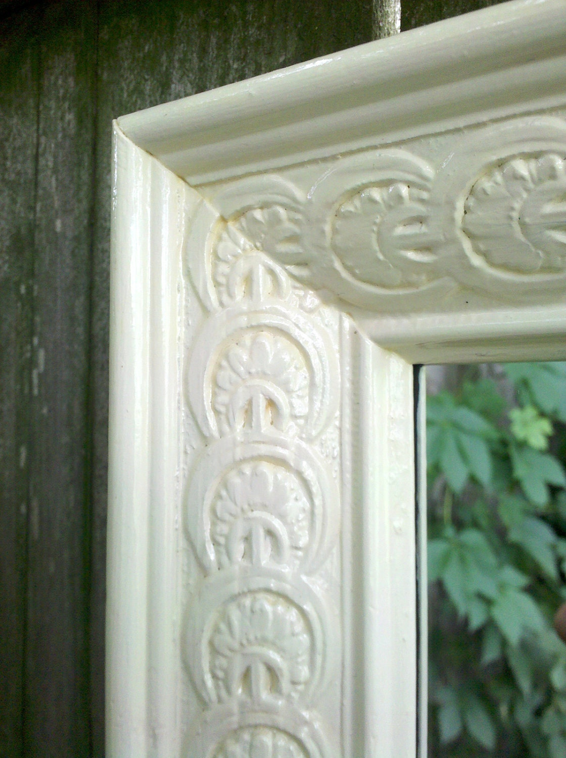 Long wall mirror in vintage white carved wood frame for Long wall mirror