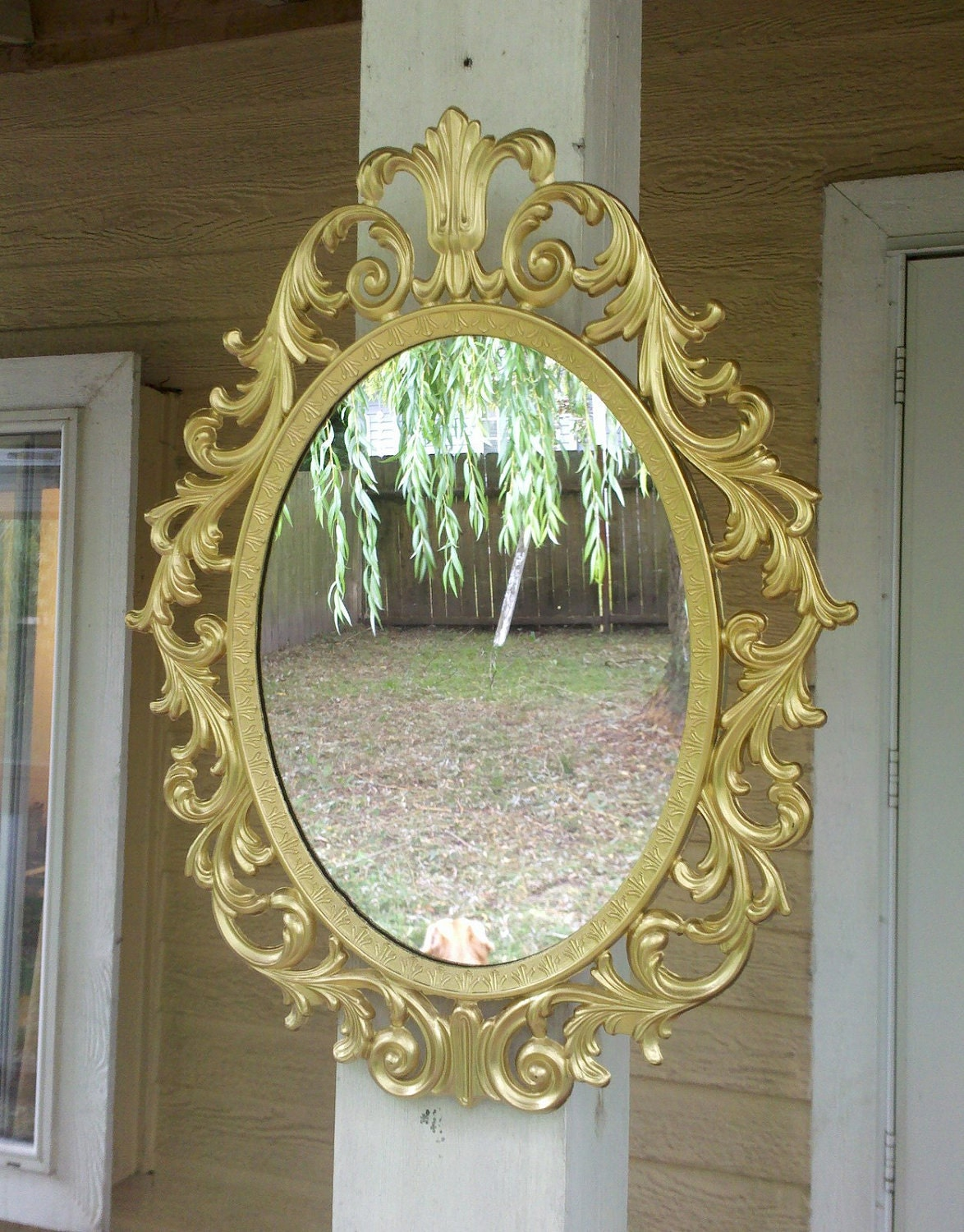 Fairy Princess Mirror Ornate Vintage Frame In Shiny Gold