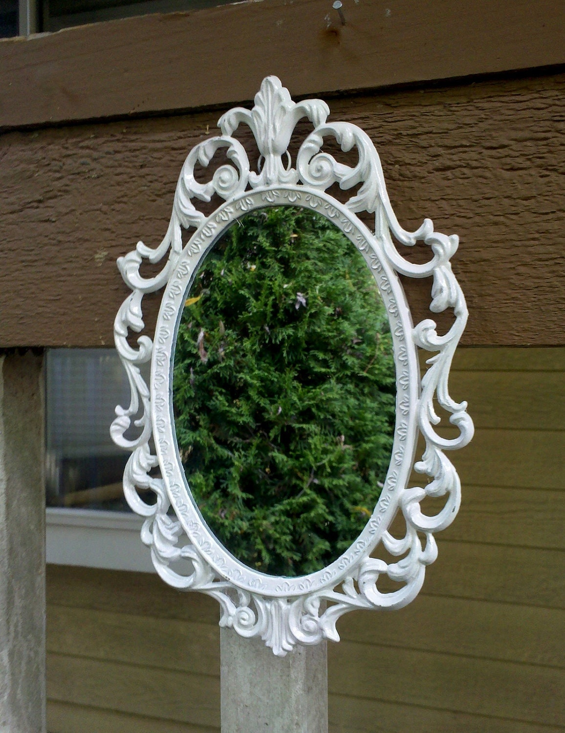 Fairy Princess Mirror Vintage Oval Frame In Glossy White 8