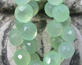 Green Faceted Chalcedony Onion Briolettes  AVG 8mm -  4 inch Strand