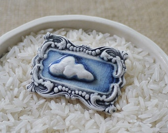 Ceramic Jewellery, Porcelain Cloud Brooch by Mrs Peterson Pottery