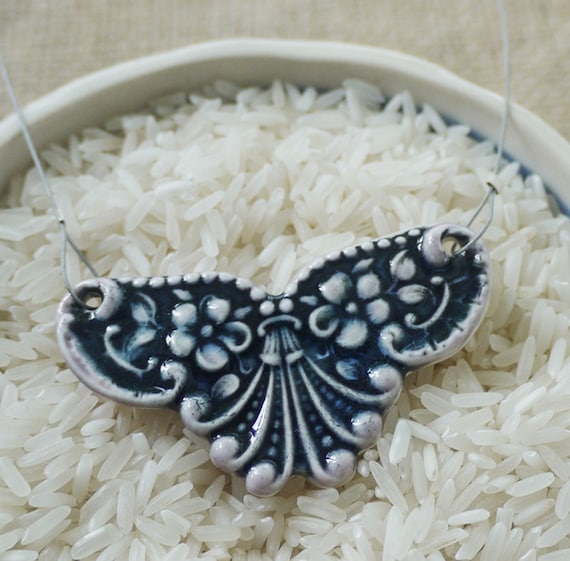 Deep Blue Porcelain Necklace, Victorian Style, Mrs Peterson Pottery