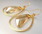 golden teardrop hoop with wing pendant swarovski crystal- Free US shipping