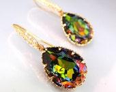 Swarovski vitrail medium foiled teardrop earrings with gold hook - Free US shipping